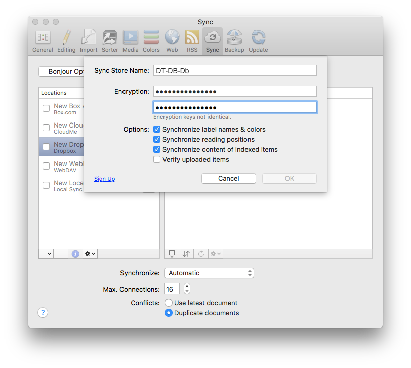 how to set up dropbox sync